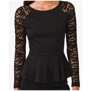 Black Lace-Sleeve Peplum Top